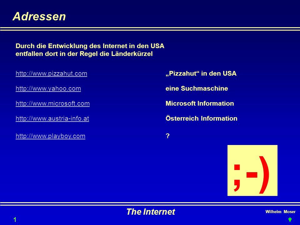 """Wilhelm Moser The Internet Adressen http://www.pizzahut.com""""Pizzahut in den USA Durch die Entwicklung des Internet in den USA entfallen dort in der Regel die Länderkürzel 16 http://www.yahoo.comeine Suchmaschine http://www.microsoft.comMicrosoft Information http://www.austria-info.atÖsterreich Information http://www.playboy.com."""