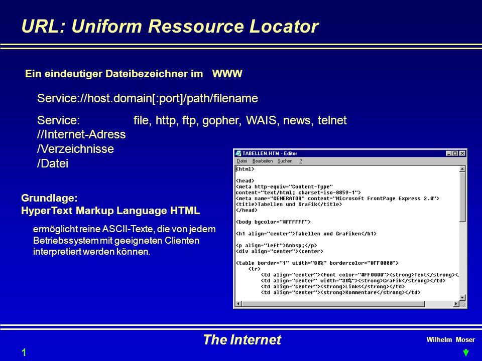 Wilhelm Moser The Internet URL: Uniform Ressource Locator Grundlage: HyperText Markup Language HTML Ein eindeutiger Dateibezeichner im WWW Service://host.domain[:port]/path/filename Service:file, http, ftp, gopher, WAIS, news, telnet //Internet-Adress /Verzeichnisse /Datei ermöglicht reine ASCII-Texte, die von jedem Betriebssystem mit geeigneten Clienten interpretiert werden können.