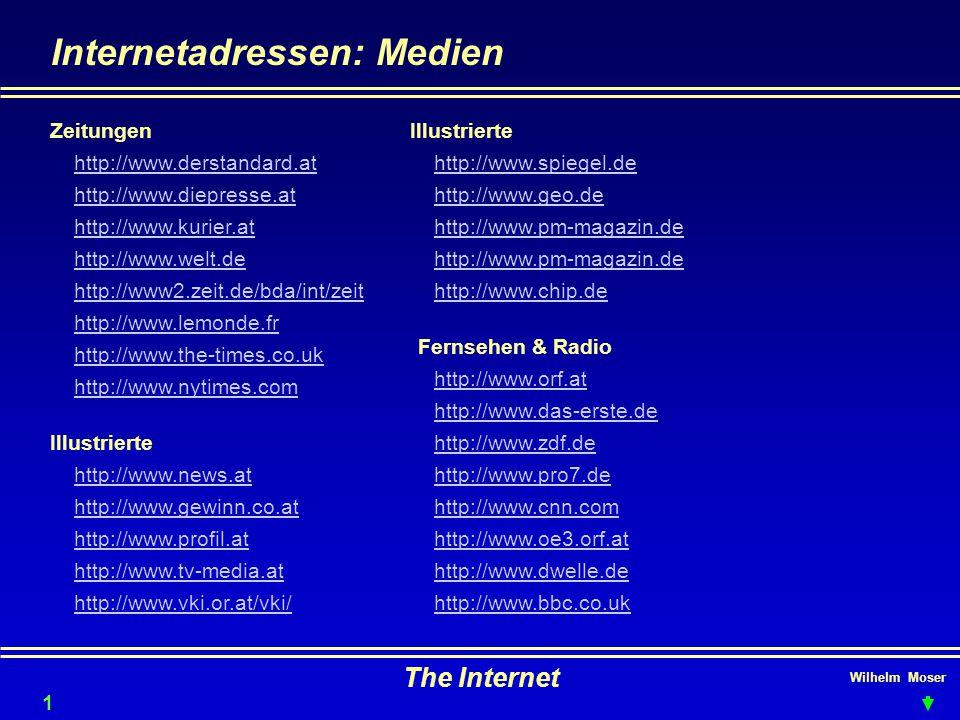 Wilhelm Moser The Internet Internetadressen: Medien Zeitungen http://www.derstandard.at 18 http://www.diepresse.at http://www.kurier.at http://www.welt.de http://www2.zeit.de/bda/int/zeit http://www.lemonde.fr http://www.the-times.co.uk http://www.nytimes.com Illustrierte http://www.news.at http://www.gewinn.co.at http://www.profil.at http://www.tv-media.at http://www.vki.or.at/vki/ Illustrierte http://www.spiegel.de http://www.geo.de http://www.pm-magazin.de http://www.chip.de http://www.orf.at Fernsehen & Radio http://www.das-erste.de http://www.zdf.de http://www.pro7.de http://www.cnn.com http://www.oe3.orf.at http://www.dwelle.de http://www.bbc.co.uk
