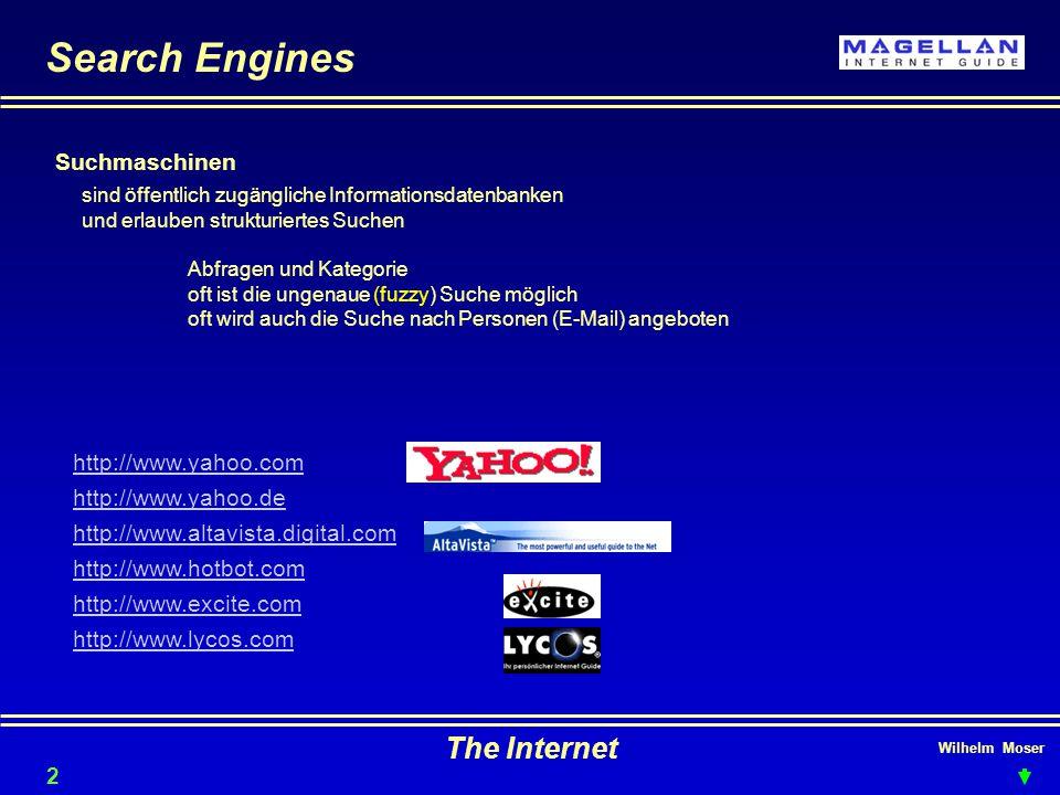 Wilhelm Moser The Internet Search Engines Suchmaschinen sind öffentlich zugängliche Informationsdatenbanken und erlauben strukturiertes Suchen Abfragen und Kategorie oft ist die ungenaue (fuzzy) Suche möglich oft wird auch die Suche nach Personen (E-Mail) angeboten 22 http://www.yahoo.com http://www.yahoo.de http://www.altavista.digital.com http://www.hotbot.com http://www.excite.com http://www.lycos.com