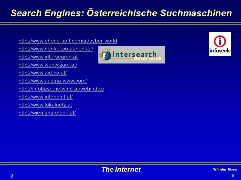 Wilhelm Moser The Internet Search Engines: Österreichische Suchmaschinen 23 http://www.phone-soft.com/at/cyber-world http://www.henkel.co.at/henkel/ http://www.intersearch.at http://www.webwizard.at/ http://www.aid.co.at/ http://www.austria-www.com/ http://infobase.netwing.at/webindex/ http://www.infopoint.at/ http://www.lokalnetz.at http://wien.sharelook.at/