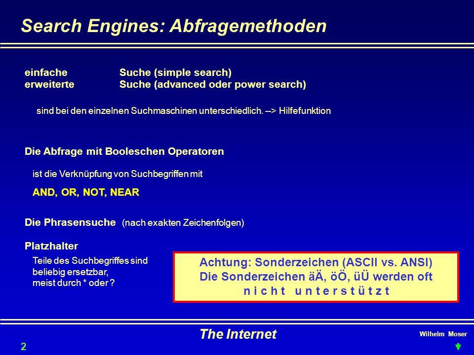 Wilhelm Moser The Internet Search Engines: Abfragemethoden erweiterte Suche (advanced oder power search) Die Abfrage mit Booleschen Operatoren einfacheSuche (simple search) sind bei den einzelnen Suchmaschinen unterschiedlich.