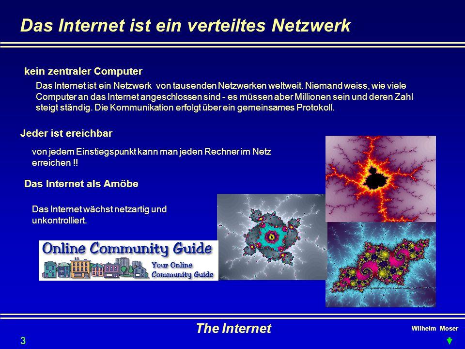 Wilhelm Moser The Internet Das Internet ist ein verteiltes Netzwerk Jeder ist ereichbar Das Internet als Amöbe kein zentraler Computer Das Internet ist ein Netzwerk von tausenden Netzwerken weltweit.