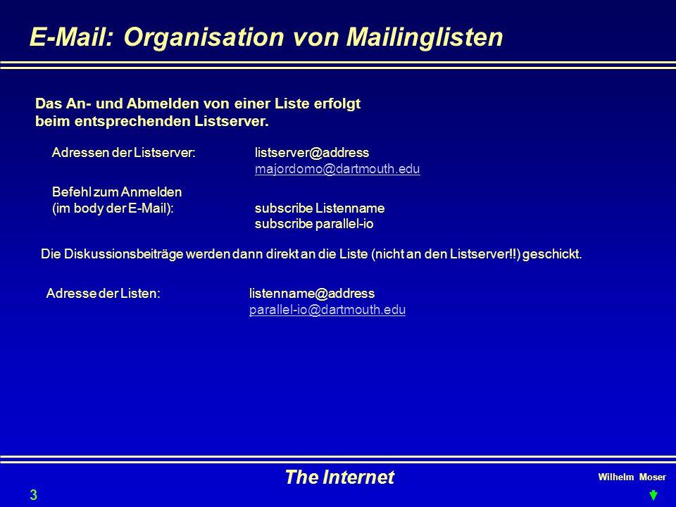 Wilhelm Moser The Internet E-Mail: Organisation von Mailinglisten Das An- und Abmelden von einer Liste erfolgt beim entsprechenden Listserver.