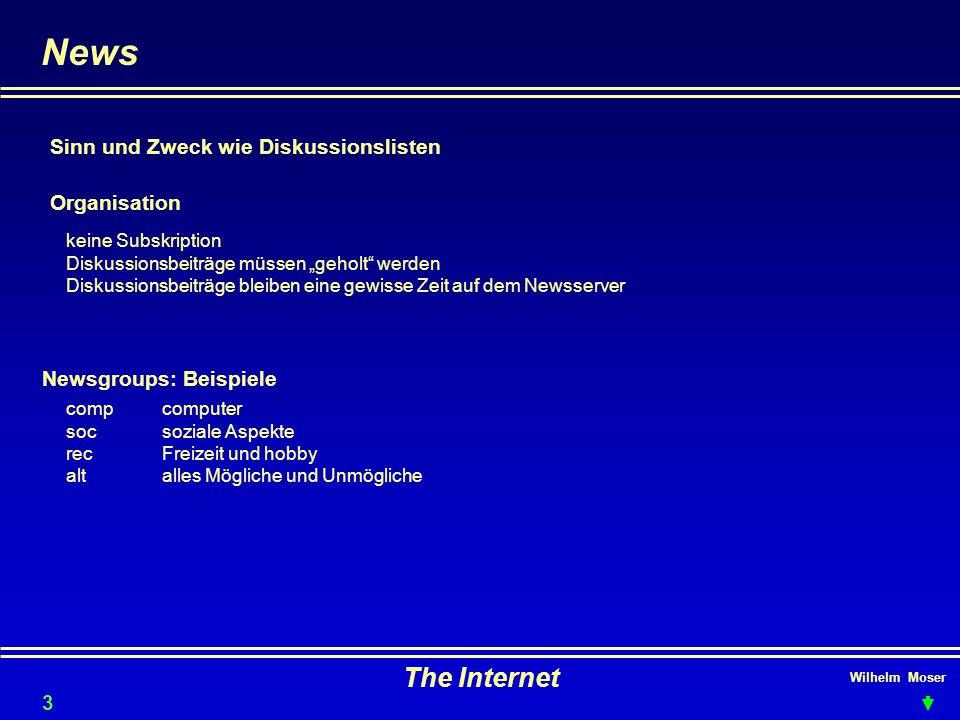 Wilhelm Moser The Internet News Organisation Newsgroups: Beispiele Sinn und Zweck wie Diskussionslisten keine Subskription Diskussionsbeiträge müssen