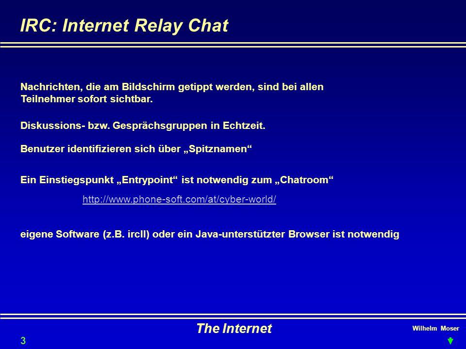 """Wilhelm Moser The Internet IRC: Internet Relay Chat Diskussions- bzw. Gesprächsgruppen in Echtzeit. Benutzer identifizieren sich über """"Spitznamen"""" Nac"""