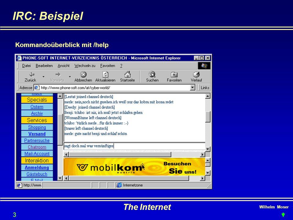 Wilhelm Moser The Internet IRC: Beispiel 34 Kommandoüberblick mit /help