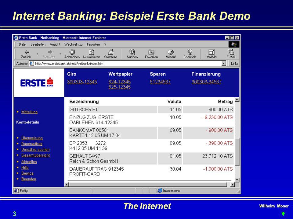 Wilhelm Moser The Internet Internet Banking: Beispiel Erste Bank Demo 36