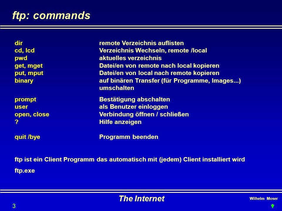 Wilhelm Moser The Internet ftp: commands dirremote Verzeichnis auflisten cd, lcdVerzeichnis Wechseln, remote /local pwdaktuelles verzeichnis get, mget
