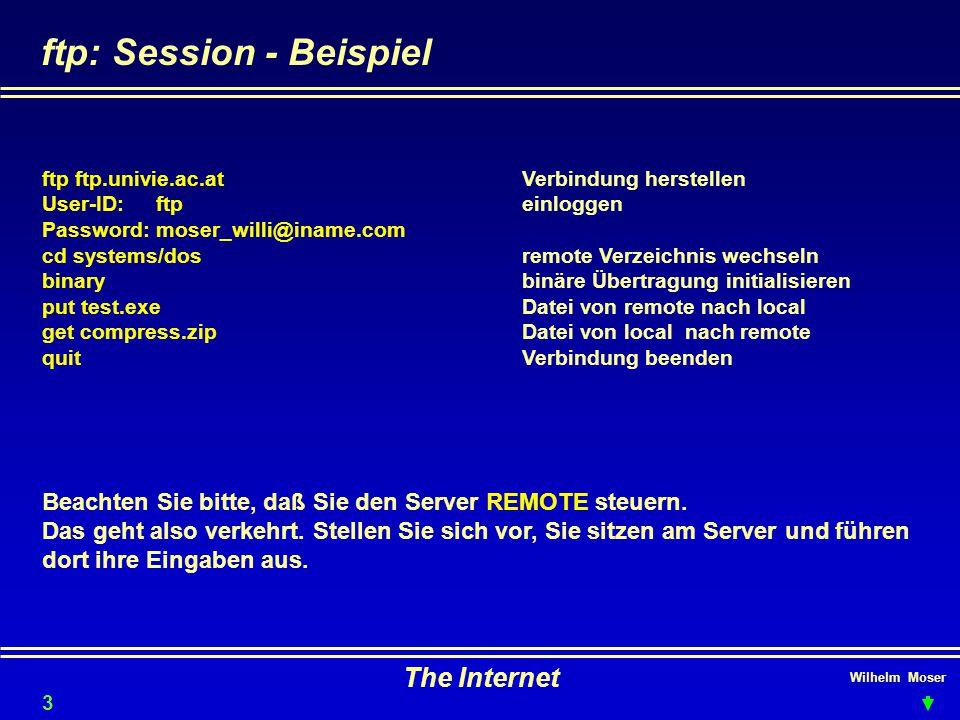 Wilhelm Moser The Internet ftp: Session - Beispiel ftp ftp.univie.ac.atVerbindung herstellen User-ID: ftpeinloggen Password: moser_willi@iname.com cd systems/dosremote Verzeichnis wechseln binarybinäre Übertragung initialisieren put test.exeDatei von remote nach local get compress.zipDatei von local nach remote quitVerbindung beenden Beachten Sie bitte, daß Sie den Server REMOTE steuern.
