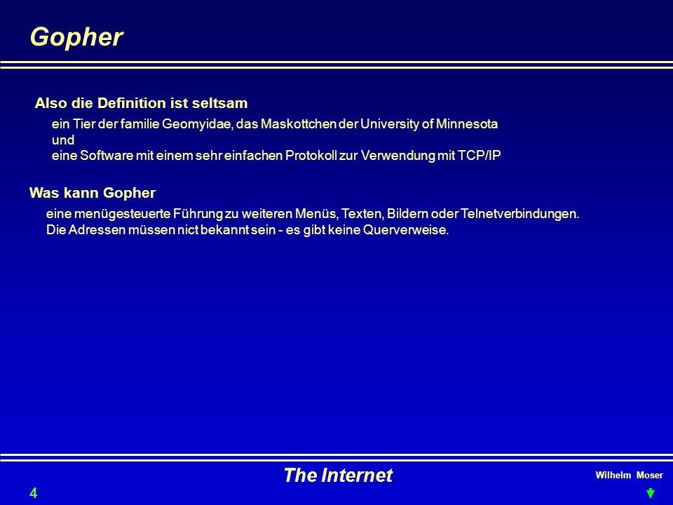 Wilhelm Moser The Internet Gopher Was kann Gopher Also die Definition ist seltsam ein Tier der familie Geomyidae, das Maskottchen der University of Minnesota und eine Software mit einem sehr einfachen Protokoll zur Verwendung mit TCP/IP eine menügesteuerte Führung zu weiteren Menüs, Texten, Bildern oder Telnetverbindungen.