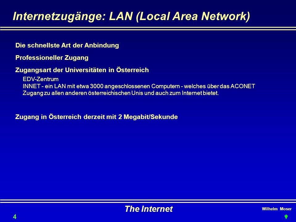 Wilhelm Moser The Internet Internetzugänge: LAN (Local Area Network) Professioneller Zugang Zugangsart der Universitäten in Österreich Die schnellste Art der Anbindung 44 EDV-Zentrum INNET - ein LAN mit etwa 3000 angeschlossenen Computern - welches über das ACONET Zugang zu allen anderen österreichischen Unis und auch zum Internet bietet.