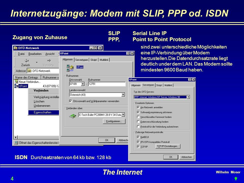 Wilhelm Moser The Internet Internetzugänge: Modem mit SLIP, PPP od. ISDN SLIPSerial Line IP PPP, Point to Point Protocol Zugang von Zuhause 45 sind zw