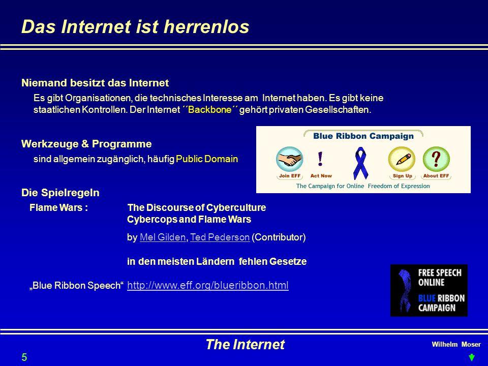 Wilhelm Moser The Internet Das Internet ist herrenlos Niemand besitzt das Internet Werkzeuge & Programme Es gibt Organisationen, die technisches Interesse am Internet haben.