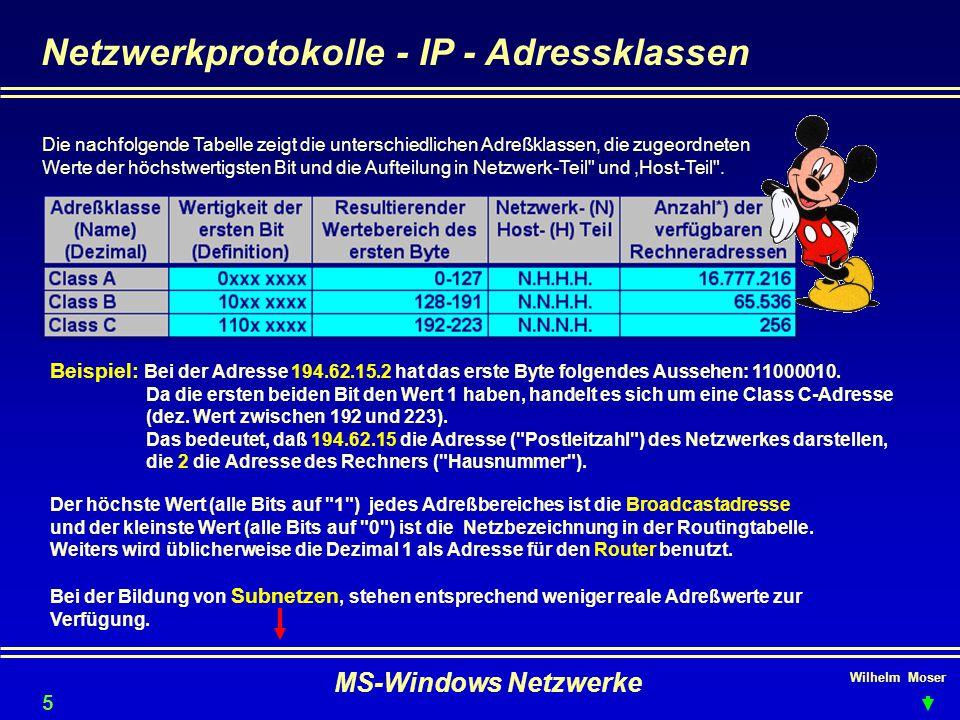 Wilhelm Moser MS-Windows Netzwerke Netzwerkprotokolle - IP - Adressklassen Die nachfolgende Tabelle zeigt die unterschiedlichen Adreßklassen, die zugeordneten Werte der höchstwertigsten Bit und die Aufteilung in Netzwerk ‑ Teil und,Host ‑ Teil .