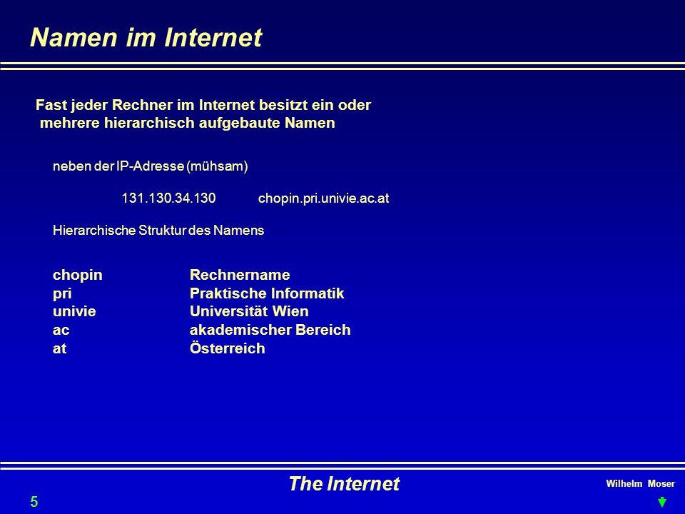 Wilhelm Moser The Internet Namen im Internet Fast jeder Rechner im Internet besitzt ein oder mehrere hierarchisch aufgebaute Namen neben der IP-Adress