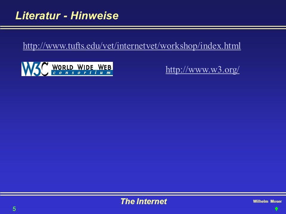 Wilhelm Moser The Internet Literatur - Hinweise 58 http://www.tufts.edu/vet/internetvet/workshop/index.html http://www.w3.org/