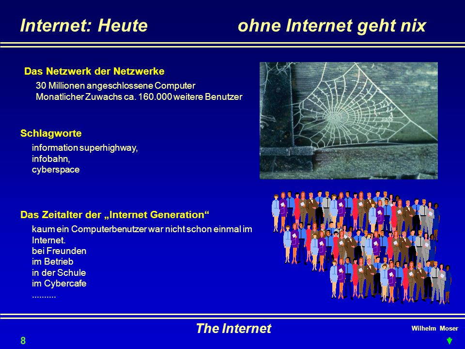 Wilhelm Moser The Internet Internetadressen: Geld 19 Banken http://www.bankaustria.at http://www.sbausparkasse.at http://www.bawag.co.at http://www.creditanstalt.co.at http://www.erste.co.at http://www.raiffeisen.at/rbg/ http://www.psk.co.at http://www.oenb.co.at http://www.bankofengland.co.uk http://www.deutsche-bank.de http://www.visa.at Versicherungen http://www.allianz.co.at http://www.s-versicherung.co.at http://www.bawag-vers.com http://www.wbag.at Börsen http://www.exchange.de/fwb/fwb_d.html