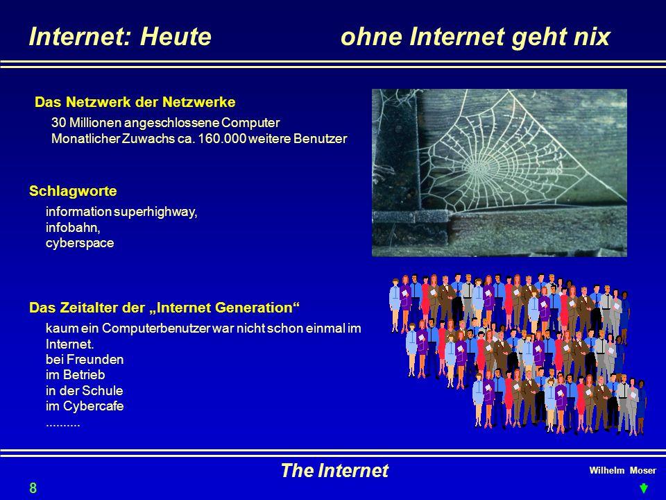 """Wilhelm Moser The Internet Internet: Heuteohne Internet geht nix Schlagworte Das Zeitalter der """"Internet Generation"""" Das Netzwerk der Netzwerke 30 Mil"""