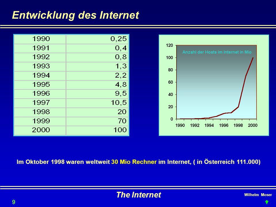 Wilhelm Moser The Internet Entwicklung des Internet 9 Im Oktober 1998 waren weltweit 30 Mio Rechner im Internet, ( in Österreich 111.000)