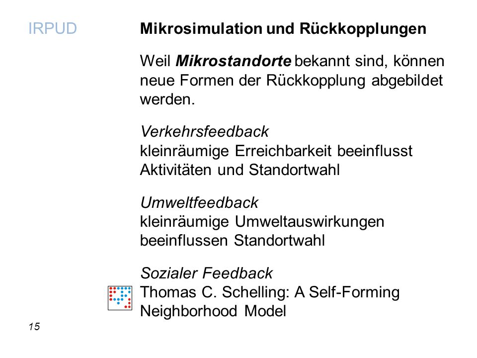 15 IRPUD Mikrosimulation und Rückkopplungen Weil Mikrostandorte bekannt sind, können neue Formen der Rückkopplung abgebildet werden. Verkehrsfeedback