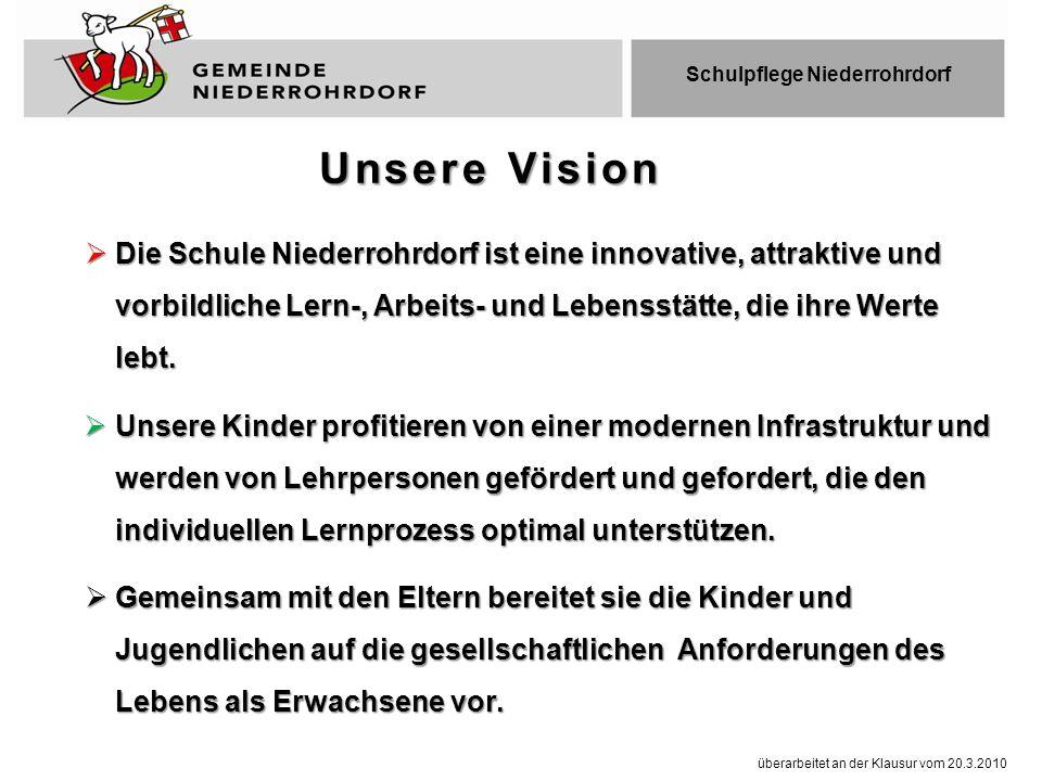  Die Schule Niederrohrdorf ist eine innovative, attraktive und vorbildliche Lern-, Arbeits- und Lebensstätte, die ihre Werte lebt.