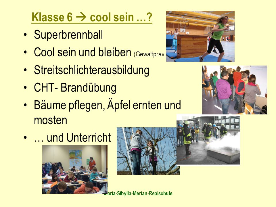 Maria-Sibylla-Merian-Realschule Superbrennball Cool sein und bleiben (Gewaltpräv.) Streitschlichterausbildung CHT- Brandübung Bäume pflegen, Äpfel ern