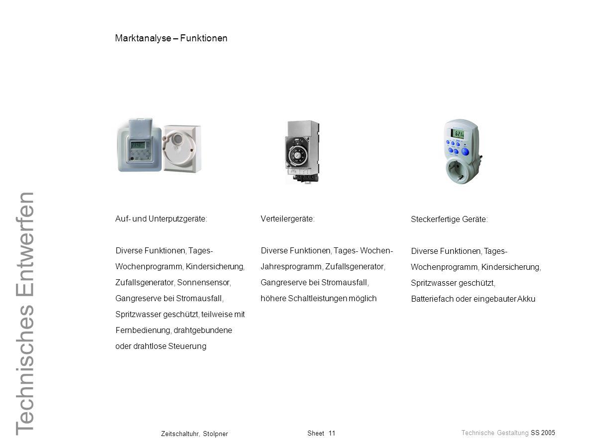 Sheet 11 Technische Gestaltung SS 2005 Zeitschaltuhr, Stolpner Technisches Entwerfen Steckerfertige Geräte: Diverse Funktionen, Tages- Wochenprogramm,