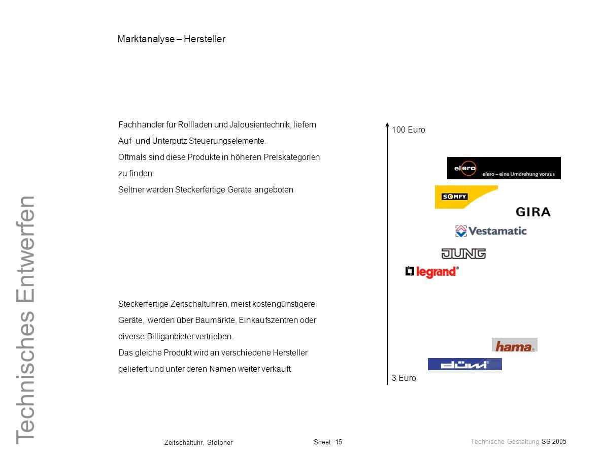 Sheet 15 Technische Gestaltung SS 2005 Zeitschaltuhr, Stolpner Technisches Entwerfen Marktanalyse – Hersteller Steckerfertige Zeitschaltuhren, meist k