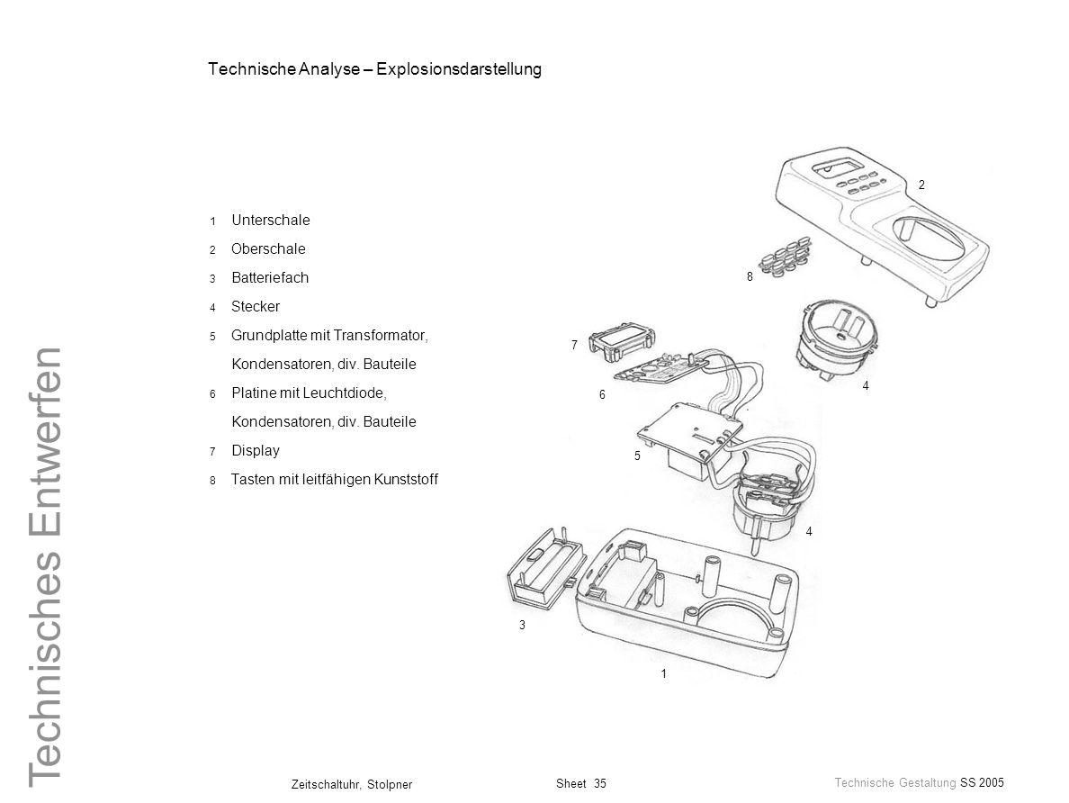 Sheet 35 Technische Gestaltung SS 2005 Zeitschaltuhr, Stolpner Technisches Entwerfen Technische Analyse – Explosionsdarstellung 1 Unterschale 2 Obersc