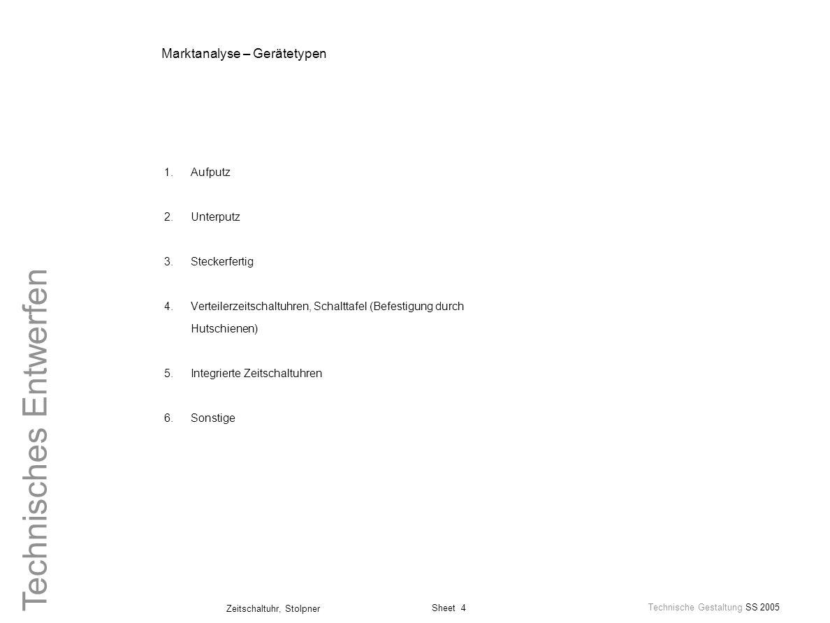 Sheet 4 Technische Gestaltung SS 2005 Zeitschaltuhr, Stolpner Technisches Entwerfen Marktanalyse – Gerätetypen 1.Aufputz 2.Unterputz 3.Steckerfertig 4