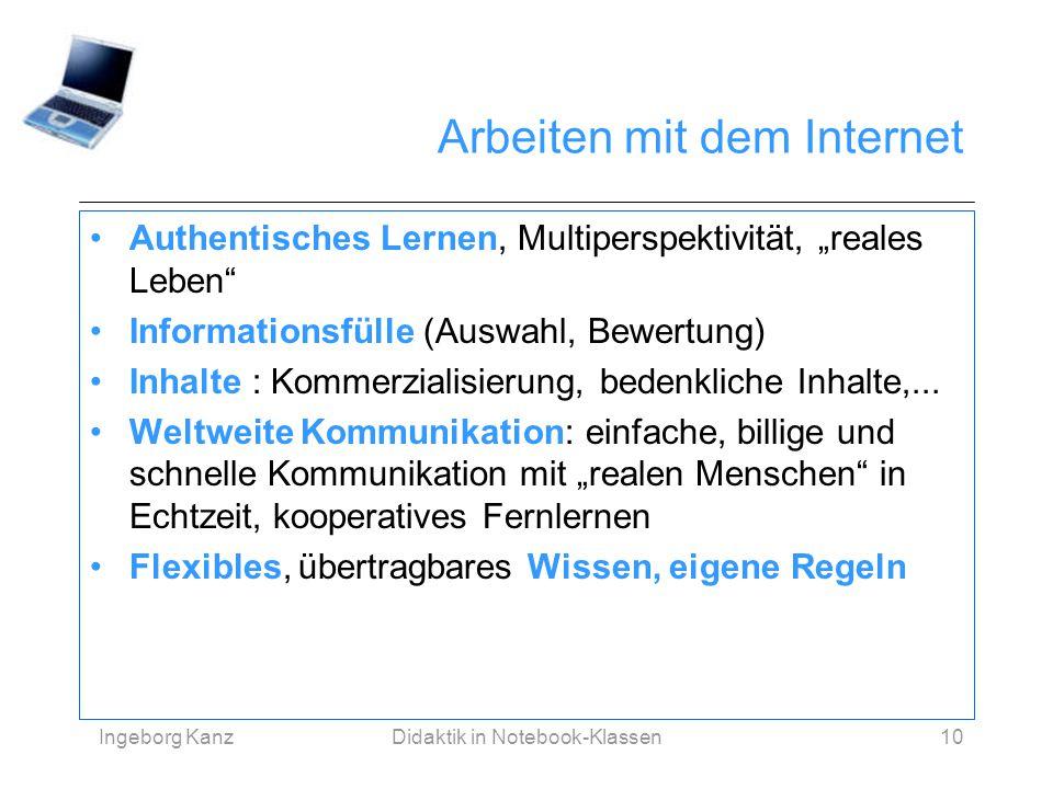"""Ingeborg KanzDidaktik in Notebook-Klassen10 Arbeiten mit dem Internet Authentisches Lernen, Multiperspektivität, """"reales Leben"""" Informationsfülle (Aus"""