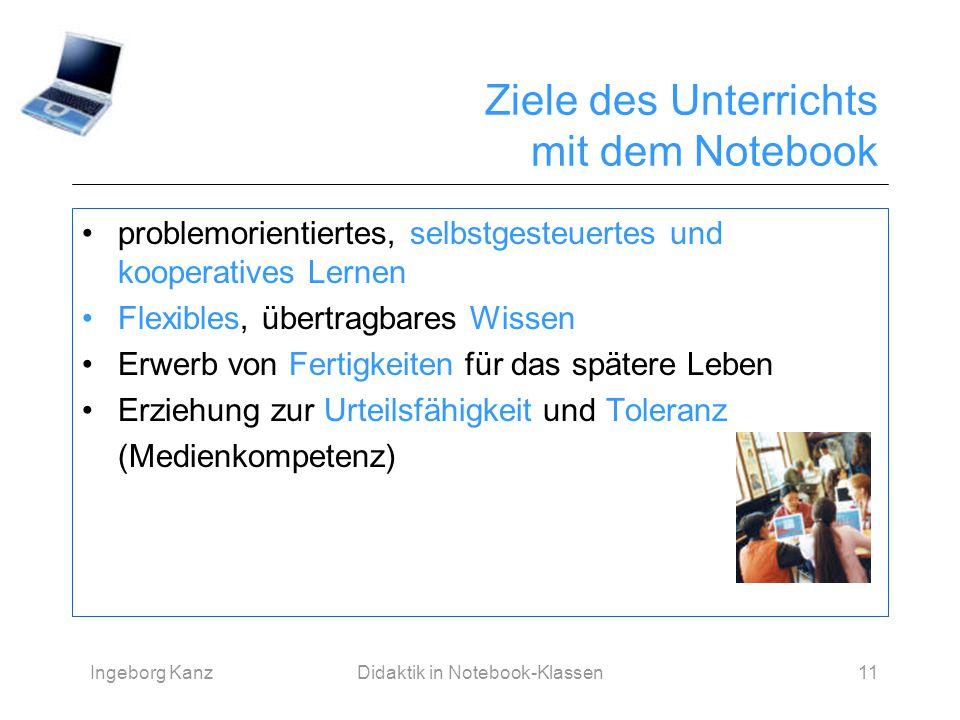 Ingeborg KanzDidaktik in Notebook-Klassen11 Ziele des Unterrichts mit dem Notebook problemorientiertes, selbstgesteuertes und kooperatives Lernen Flex