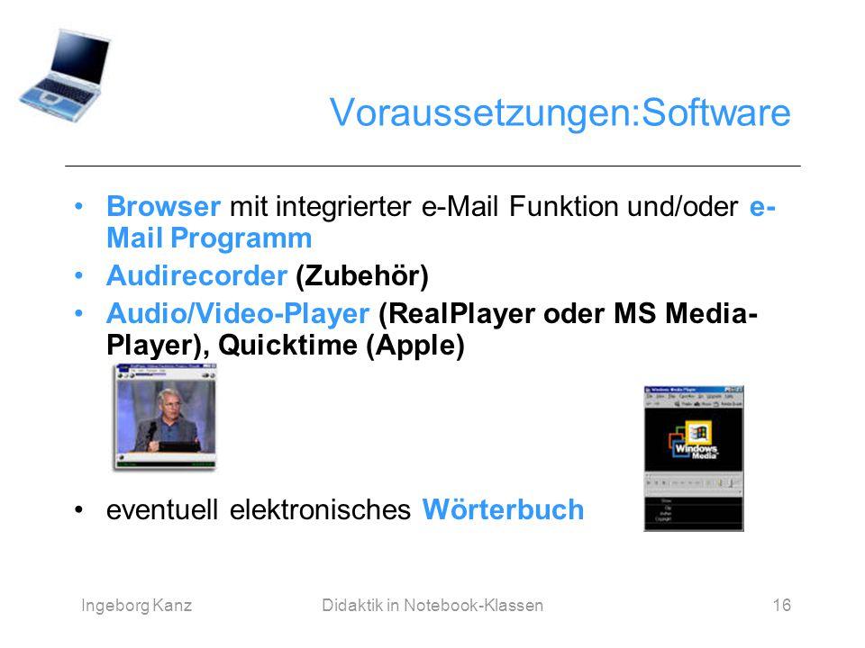 Ingeborg KanzDidaktik in Notebook-Klassen16 Voraussetzungen:Software Browser mit integrierter e-Mail Funktion und/oder e- Mail Programm Audirecorder (
