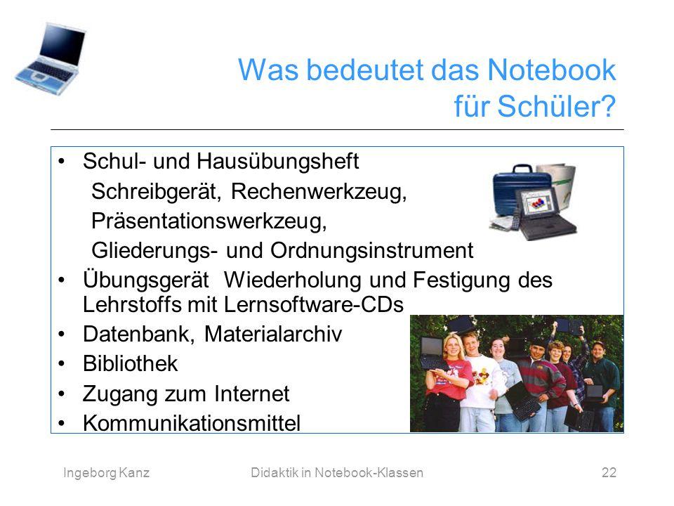 Ingeborg KanzDidaktik in Notebook-Klassen22 Was bedeutet das Notebook für Schüler? Schul- und Hausübungsheft Schreibgerät, Rechenwerkzeug, Präsentatio