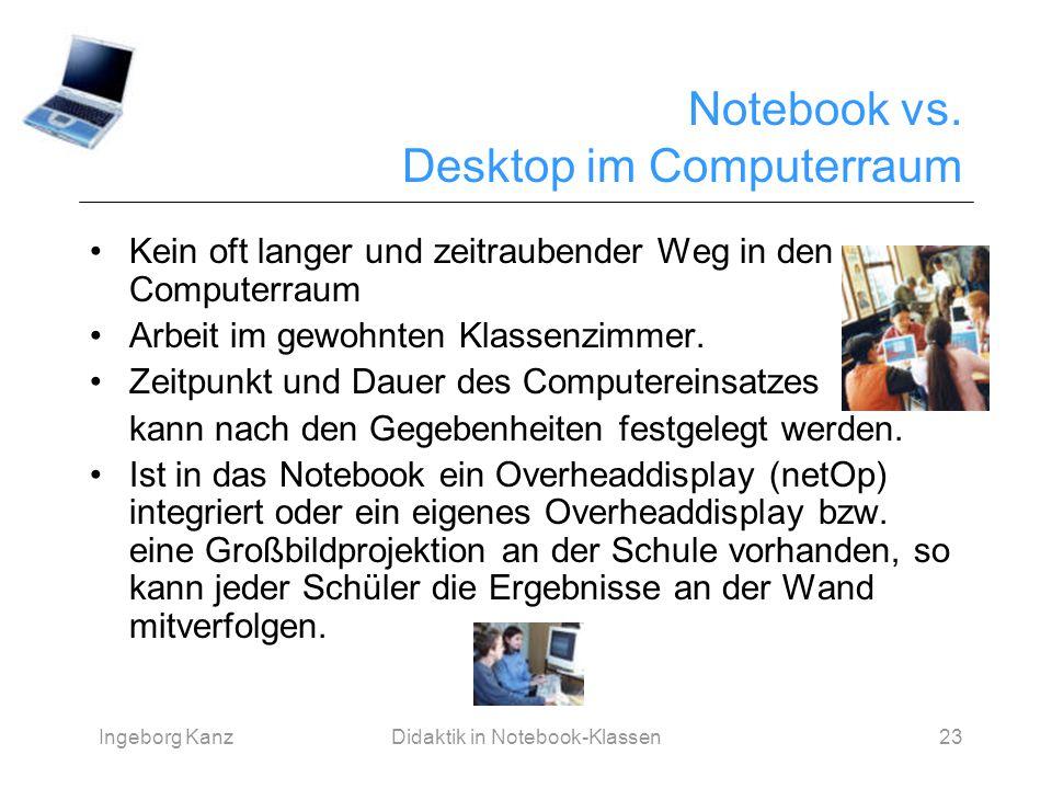Ingeborg KanzDidaktik in Notebook-Klassen23 Notebook vs. Desktop im Computerraum Kein oft langer und zeitraubender Weg in den Computerraum Arbeit im g
