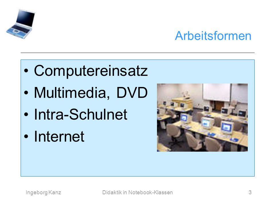Ingeborg KanzDidaktik in Notebook-Klassen3 Arbeitsformen Computereinsatz Multimedia, DVD Intra-Schulnet Internet