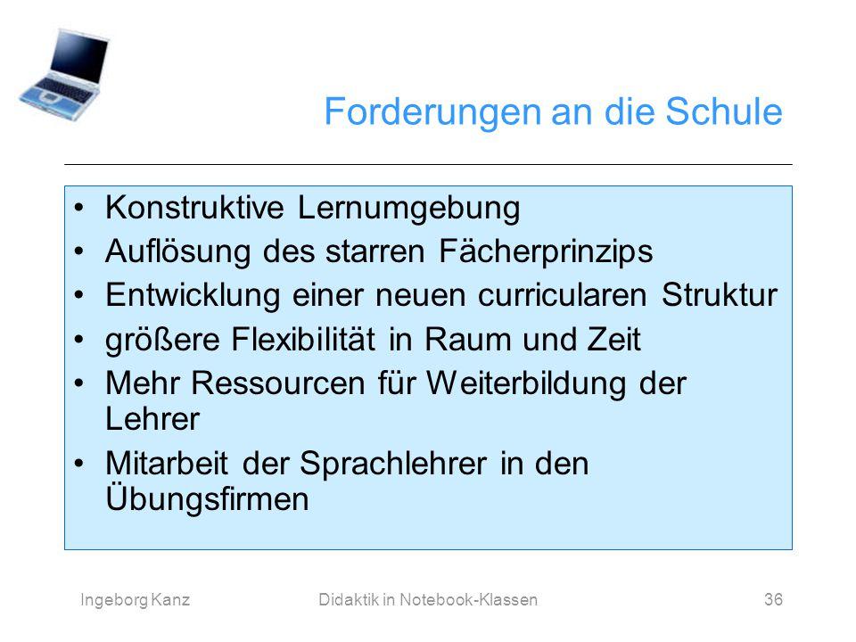 Ingeborg KanzDidaktik in Notebook-Klassen36 Forderungen an die Schule Konstruktive Lernumgebung Auflösung des starren Fächerprinzips Entwicklung einer