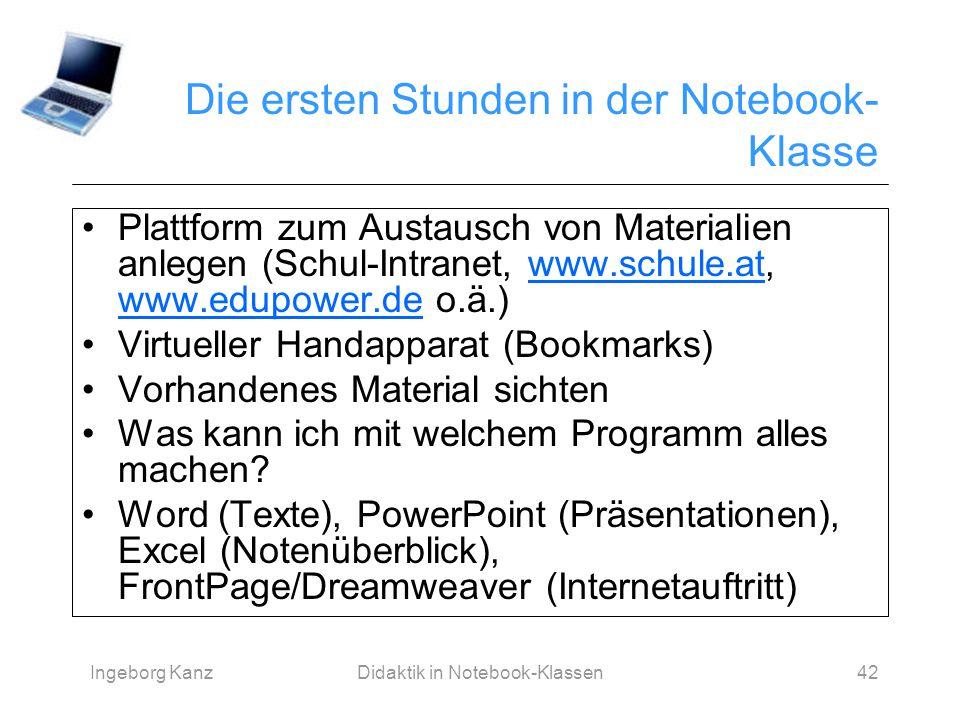 Ingeborg KanzDidaktik in Notebook-Klassen42 Die ersten Stunden in der Notebook- Klasse Plattform zum Austausch von Materialien anlegen (Schul-Intranet