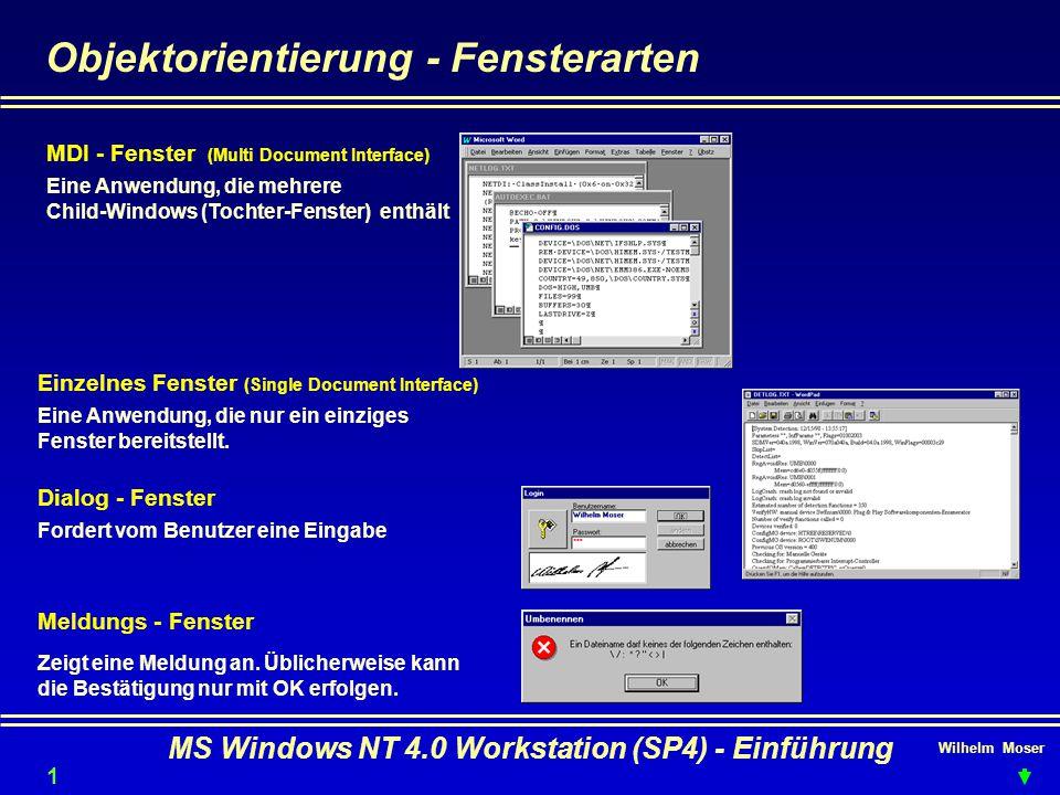 Wilhelm Moser MS Windows NT 4.0 Workstation (SP4) - Einführung Objektorientierung - Fensterarten MDI - Fenster (Multi Document Interface) Einzelnes Fe