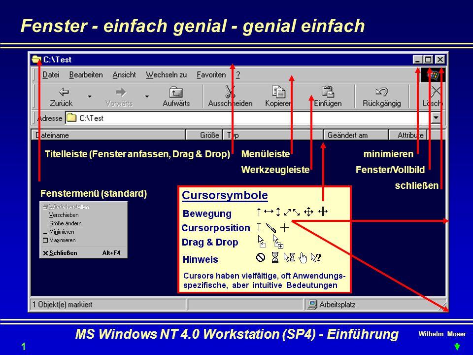 Wilhelm Moser MS Windows NT 4.0 Workstation (SP4) - Einführung Fenster - einfach genial - genial einfach minimieren Fenster/Vollbild schließen Menülei