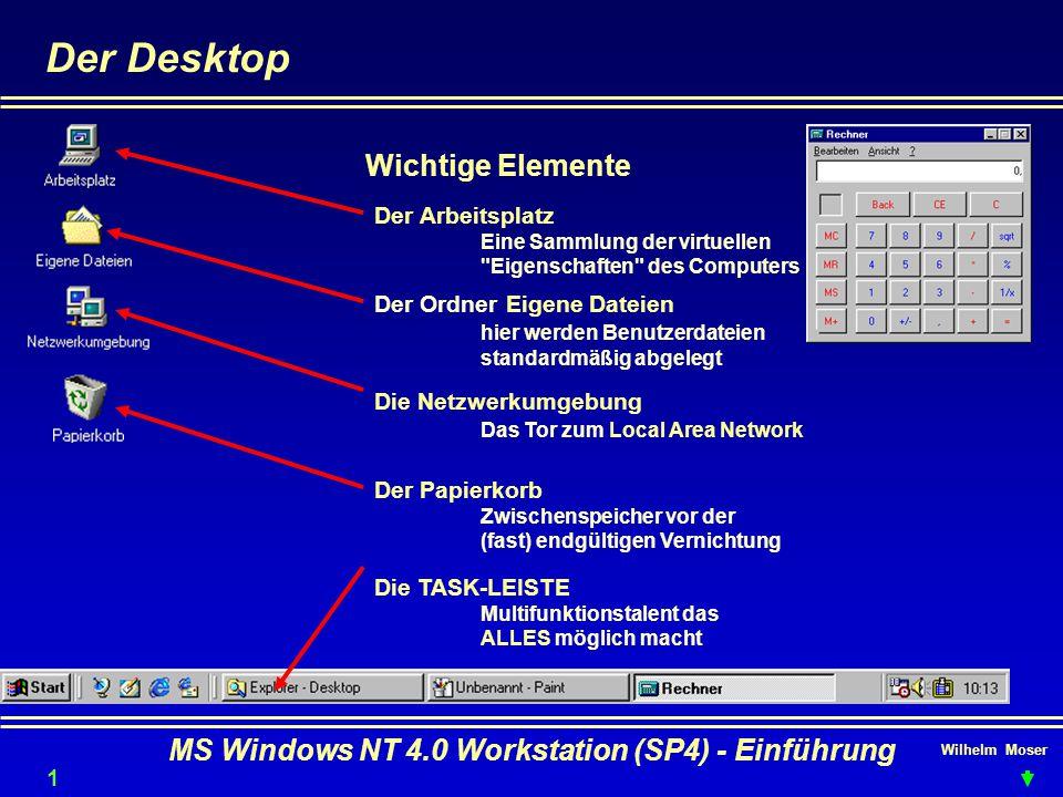 Wilhelm Moser MS Windows NT 4.0 Workstation (SP4) - Einführung Der Desktop 13 Wichtige Elemente Der Arbeitsplatz Eine Sammlung der virtuellen