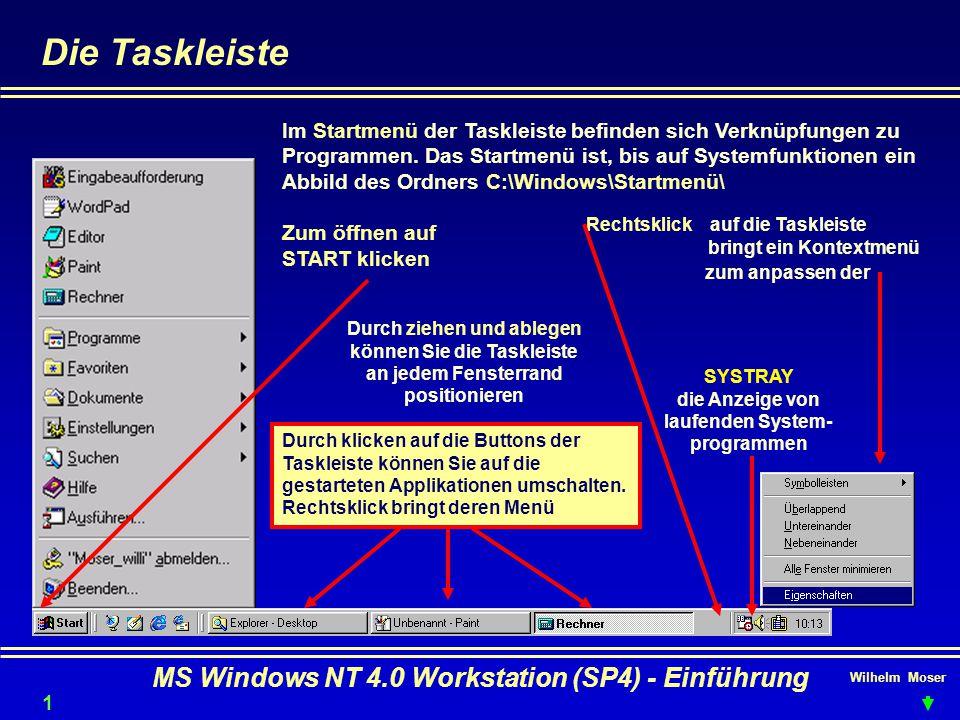 Wilhelm Moser MS Windows NT 4.0 Workstation (SP4) - Einführung Die Taskleiste Im Startmenü der Taskleiste befinden sich Verknüpfungen zu Programmen. D