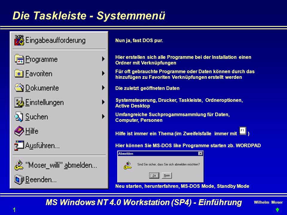 Wilhelm Moser MS Windows NT 4.0 Workstation (SP4) - Einführung Die Taskleiste - Systemmenü Nun ja, fast DOS pur. Hier erstellen sich alle Programme be