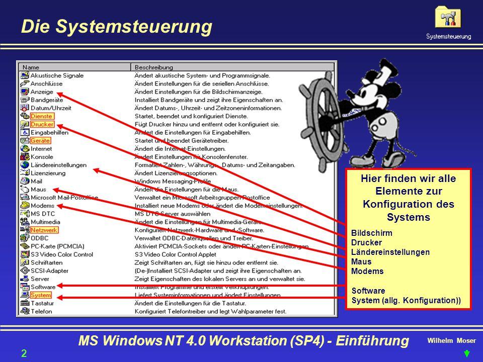 Wilhelm Moser MS Windows NT 4.0 Workstation (SP4) - Einführung Die Systemsteuerung Hier finden wir alle Elemente zur Konfiguration des Systems Bildsch