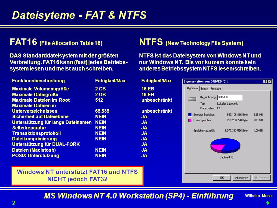 Wilhelm Moser MS Windows NT 4.0 Workstation (SP4) - Einführung Dateisyteme - FAT & NTFS Windows NT unterstützt FAT16 und NTFS NICHT jedoch FAT32 FAT16