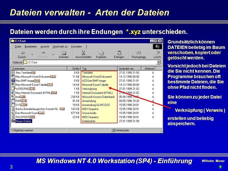 Wilhelm Moser MS Windows NT 4.0 Workstation (SP4) - Einführung Dateien verwalten - Arten der Dateien Dateien werden durch ihre Endungen *.xyz untersch