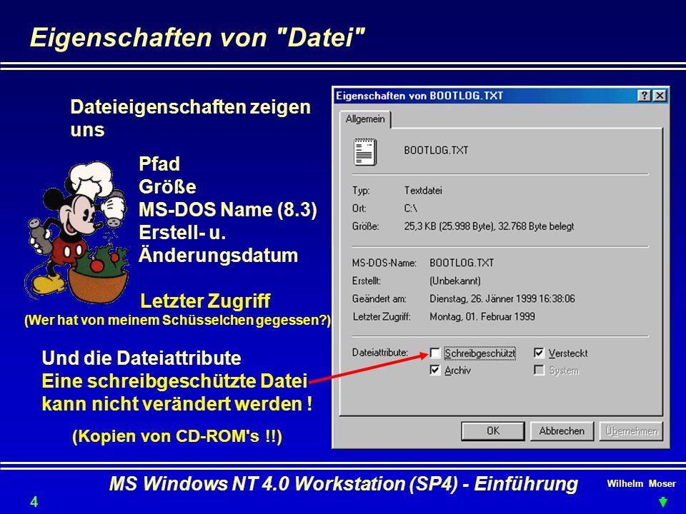 Wilhelm Moser MS Windows NT 4.0 Workstation (SP4) - Einführung Eigenschaften von