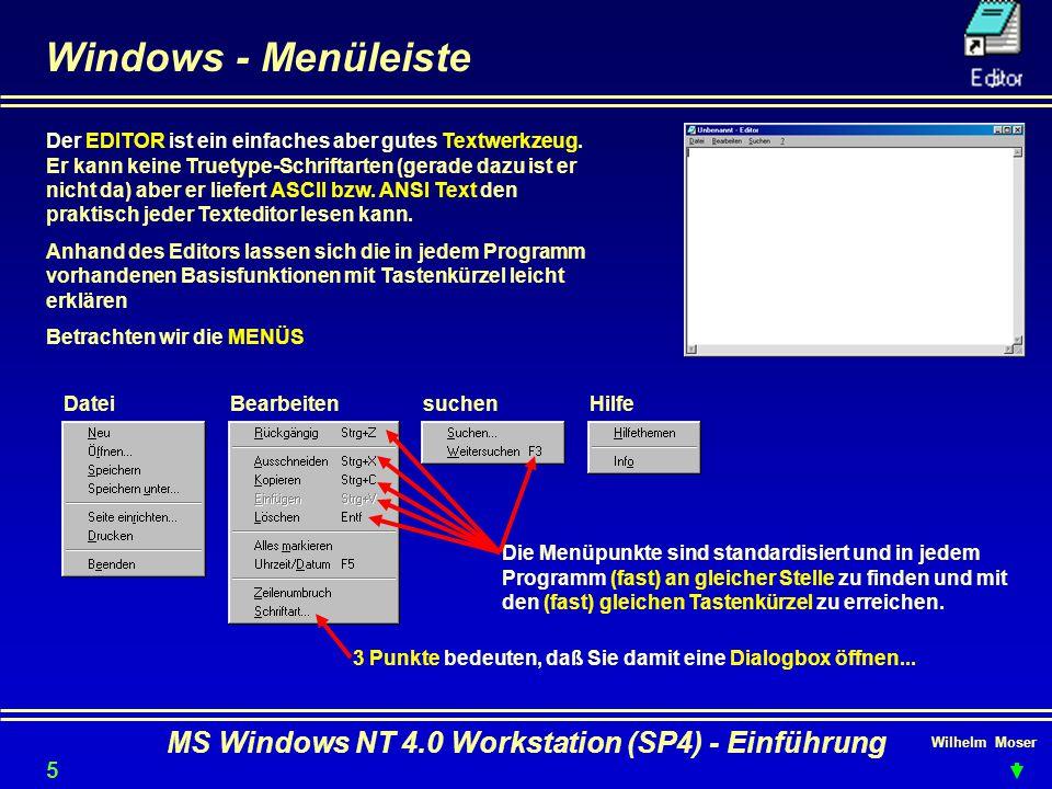 Wilhelm Moser MS Windows NT 4.0 Workstation (SP4) - Einführung Windows - Menüleiste Der EDITOR ist ein einfaches aber gutes Textwerkzeug. Er kann kein