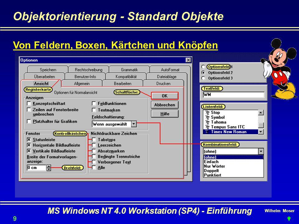 Wilhelm Moser MS Windows NT 4.0 Workstation (SP4) - Einführung Objektorientierung - Standard Objekte Von Feldern, Boxen, Kärtchen und Knöpfen 9